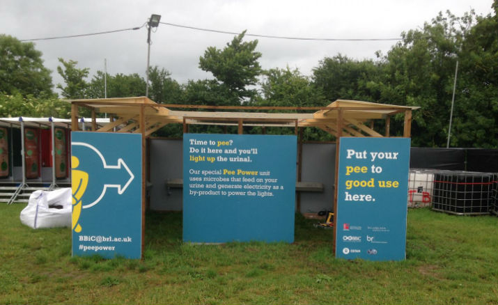 The public urinal installed this year at the Glastonbury festival can generate enough electricity to light the cubicle's LED tubes. (Image Credit: Bristol BioEnergy Centre (UWE))