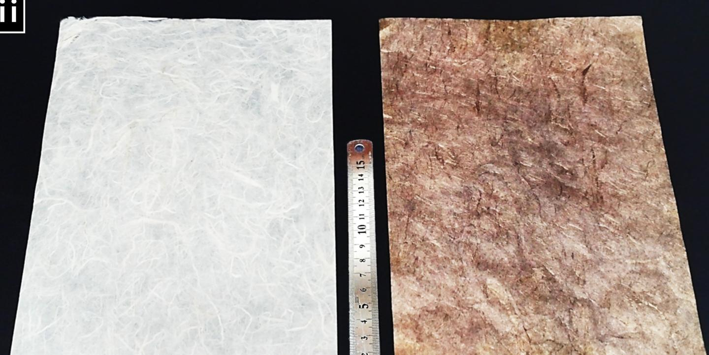 Images show the difference between paper prior to metallization (left) and the paper coated with conductive nanoparticles. (Ko et al., published in Nature Communications)