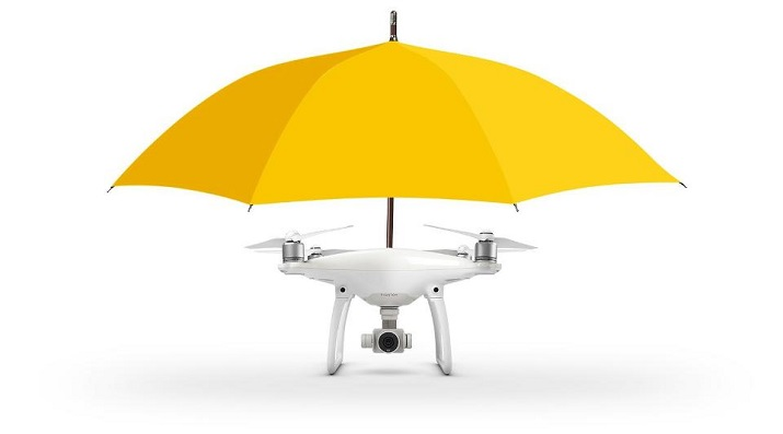 Fighting weather can now be done via an umbrella drone that follows you via GPS inside your smartphone. Source: Drones Direct