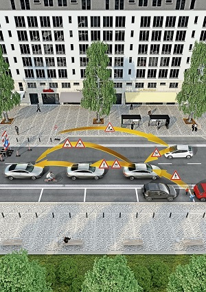 V2X technology allows for vehicles to communicate with pedestrians and cyclists via a smartphone. (Source: Continental)