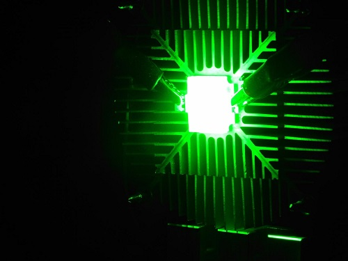 The display created by researchers showing bright green color. Source: Queen's University of Belfast