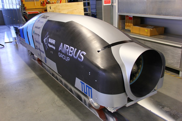 The Technical University of Munich's pod that was raced during SpaceX's Hyperloop competition and won second place. Source: Technical University of Munich