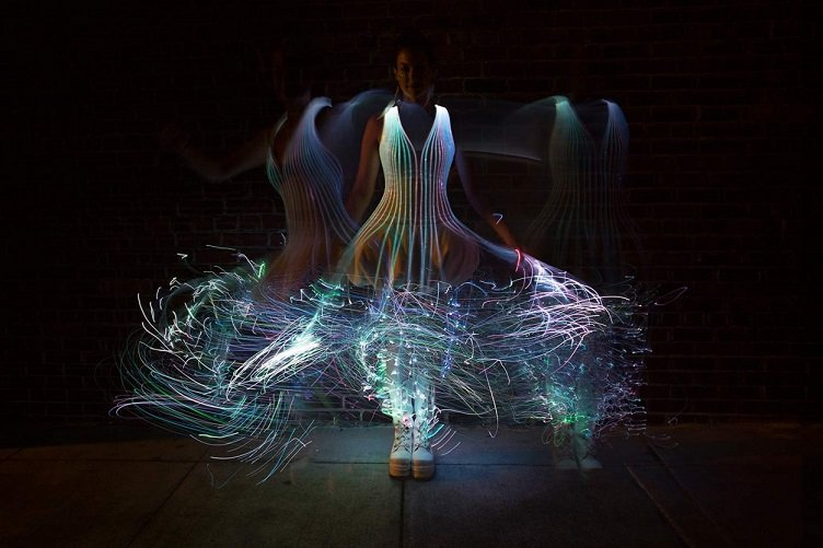 Designer Natalie Walsh created this fiber-optic dress, which you can learn how to make on Instructables.com. Source: audreyobsura