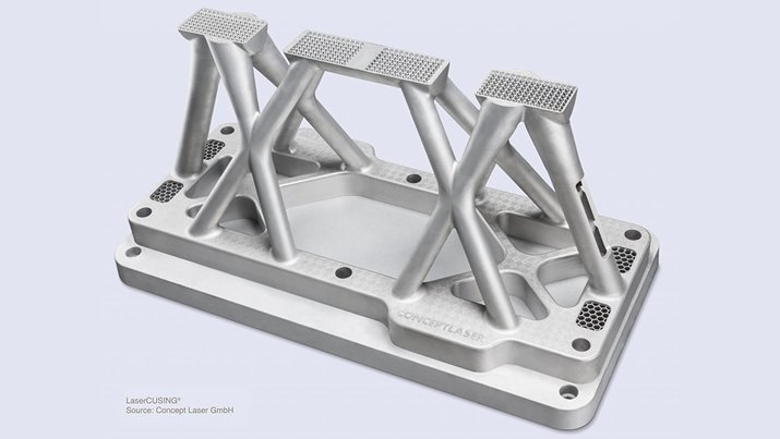 The first demonstrator version of the new 3D metal powder printer will be able to make parts up to one meter long in at least two directions. (Credit: Concept Laser)