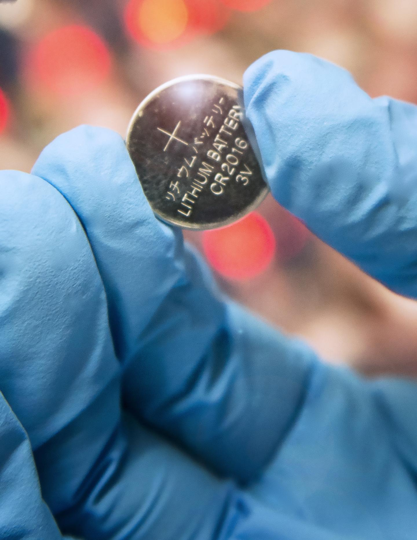 This is one of the lithium sulfur coin batteries being developed in Penn State's Energy Nanostructure Laboratory (E-Nano). (Patrick Mansell, Penn State)
