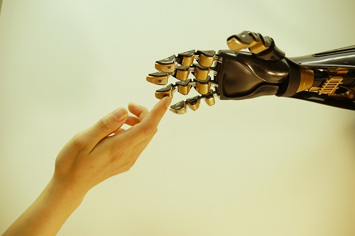 "Figure 1. The artificial ""skin"" developed by researchers at Stanford University promises to overcome the limitations of prosthetics and medically restore the sense of touch by making electronics the body's interface with the external world. (Source: Stanford University)"