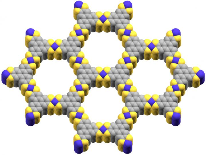 The cobalt-based metal-organic framework used by the USC scientists, with purple representing cobalt, yellow representing sulfur and gray representing carbon. (Smaranda Marinescu)
