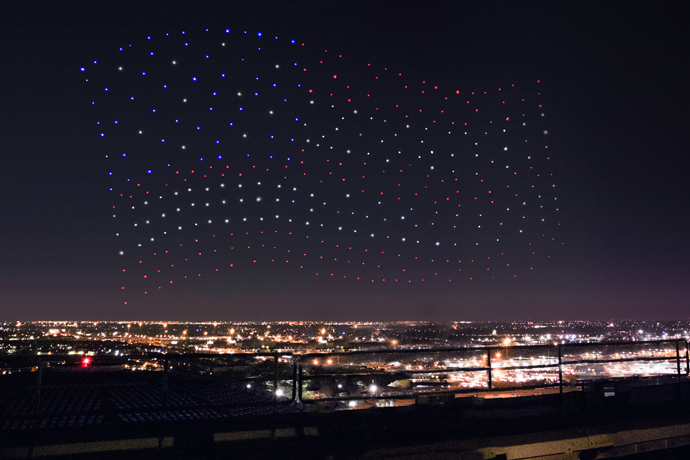Intel's drone fleet were a big part of the halftime show that featured a performance by Lady Gaga. Source: Intel