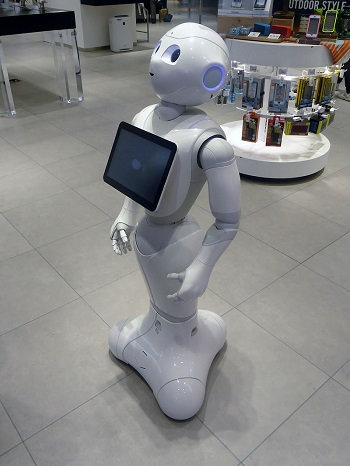 Social, humanoid robots like SoftBank's Pepper (shown) could find use in Japanese nursing homes as care robots. The country aims to automate 80 percent of its elder care by 2020.
