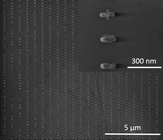 SEM images of nanoantenna array and in the inset a magnified view of the array elements. (University of Bristol)