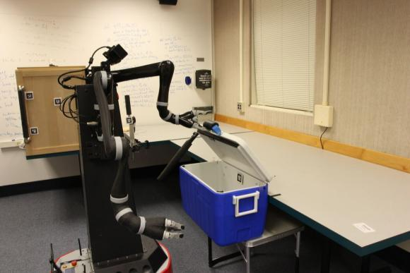 New research shows that robots can learn abstract representations of the world that are useful in planning for multi-step tasks, something that's monumentally difficult for robots to do. Here, a robot learns useful abstractions about the world by executing a set of motor skills. (Source: Intelligent Robot Lab / Brown University)