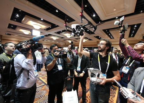 Showing off drone tech at CES 2015. (Source: CES)