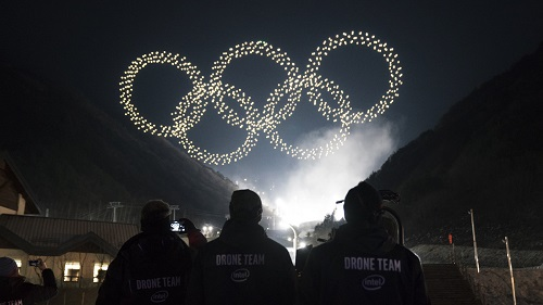 During the Opening Ceremony, drones formed the Olympic logo during a light show. Source: Intel