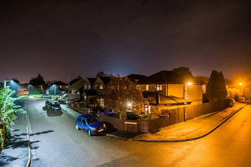 An example of LED street lighting and how much more light is produced than conventional lighting. (Source: Telensa)