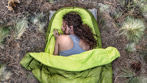 A sleeping bag with new technology allows it to expand to how a person sleeps. Source: Zenbivy