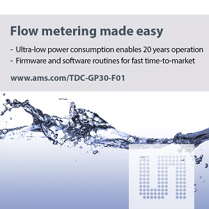 ams AG's TDC-GP30-F01 ultrasonic flow meter IC lets designers quickly implement a complete ultrasonic water meter without developing their own firmware. (Source: ams AG)