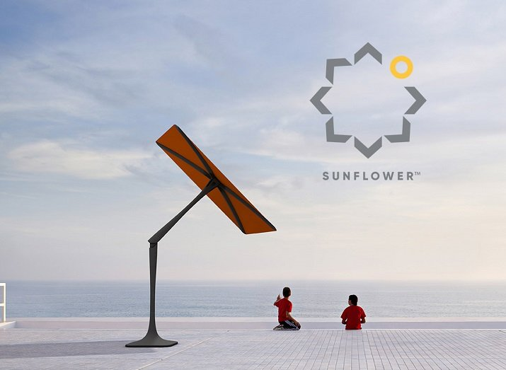 The Sunflower parasol is powered by solar panels and autonomously tracks sunlight to keep consumers in the shade always while being able to connect IoT devices. Source: Shadecraft