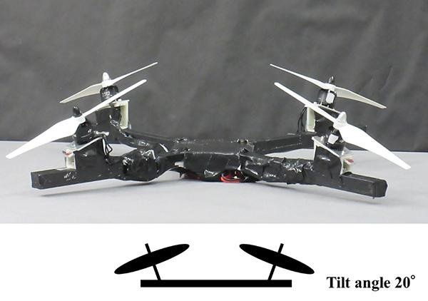 Quad-rotor configuration with outer side tiled rotor. Source: Hikaru Otsuka