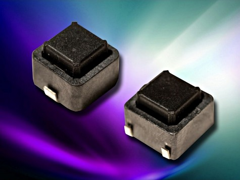 Rated for a 200,000-cycle life, C&K Components' KSH series switches come in two-terminal and four-terminal styles—both housed in 6.3 mm x 6.3 mm x 5.0 mm packages. Image source: C&K Components.