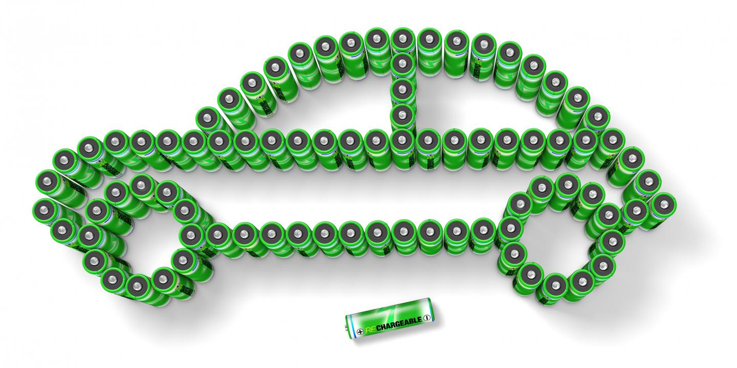 This is a photo illustration showing rechargeable batteries in the shape of an automobile. Source: iStock/Getty