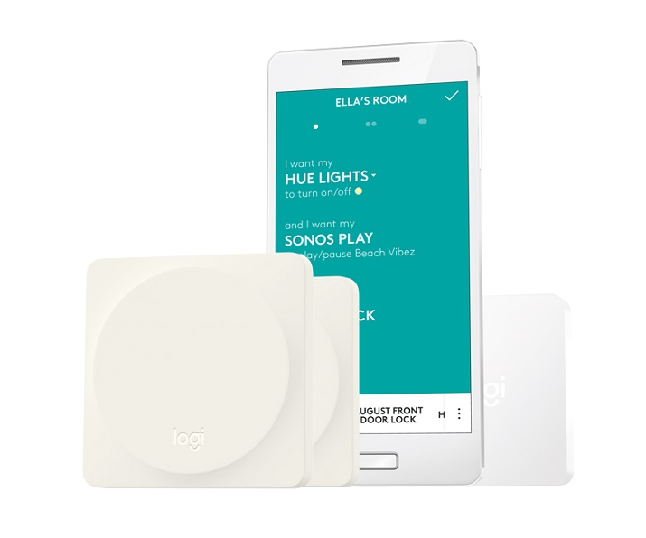 The Pop Home Switch by Logitech is a button that controls the Smart Home devices in a house with the press of a single button. Source: Logitech