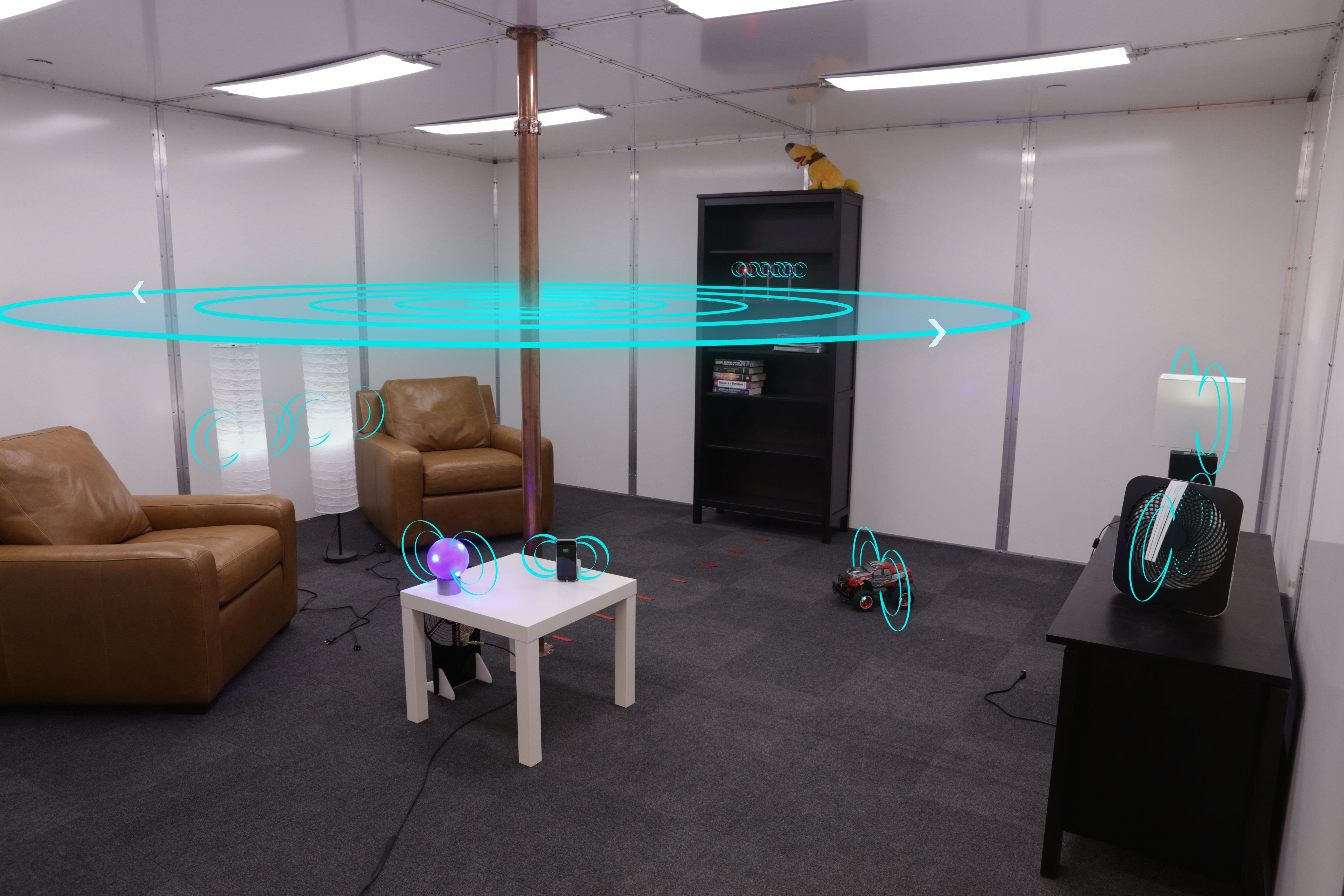 Power delivery system enables wireless charging of any electronic device throughout a room. Credit: Disney Research