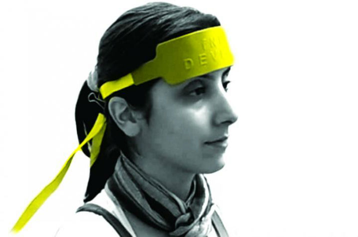The fNIR sensor, which is placed around the forehead like a headband, uses LEDs that shine near-infrared light to sample from 16 brain areas. Researchers use the technology to monitor oxygenation in the brain while the subject performs cognitive tasks. (Image Credit: Drexel University)