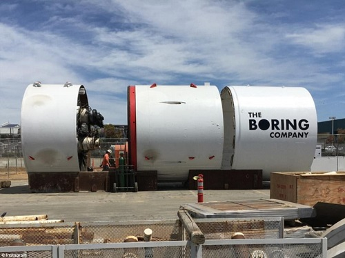 One of The Boring Company's tunnel diggers. Source: The Boring Company