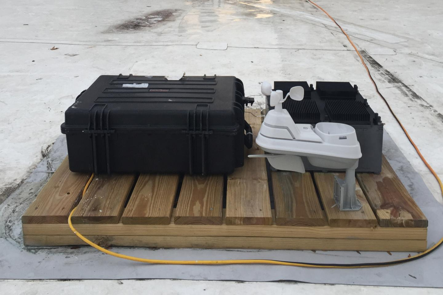 The team's test device, which has been deployed on the roof of an MIT building for several months, was used to prove the principle behind their new energy-harvesting concept.  (Source: Justin Raymond)