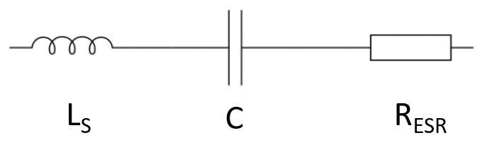 Figure 2: The electrical model of a real-world capacitor has inductive, capacitive and resistive elements.