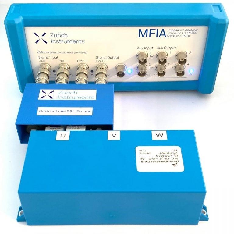 Figure 3: Test setup for measuring the ESL and ESR of a DC-Link capacitor. Source: Zurich Instruments