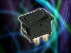 A new version of C&K Components' D Series miniature snap-in rocker switch featuring gold-plated contacts better supports low-energy switching applications — those below 0.4 VA at 20 V AC/DC.  (Source:  C&K Components)