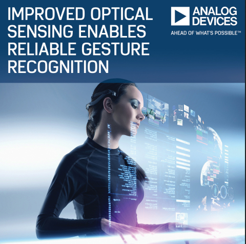 "Analog Devices' ADUX1020 optical sensor—unlike conventional touchscreens—recognizes ""in-air"" gestures; it is not affected by things like water droplets on screens or users wearing gloves. Image source: Analog Devices, Inc."