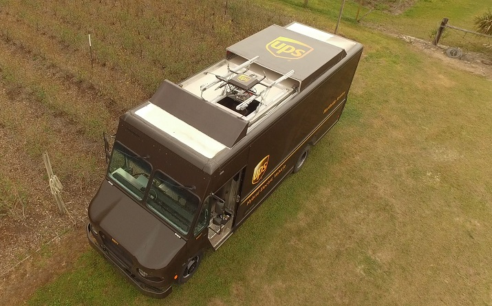 The drone used in the UPS test was able to fly to a rural residence, deliver a package and return to the delivery truck while the driver made a separate delivery. Source: UPS