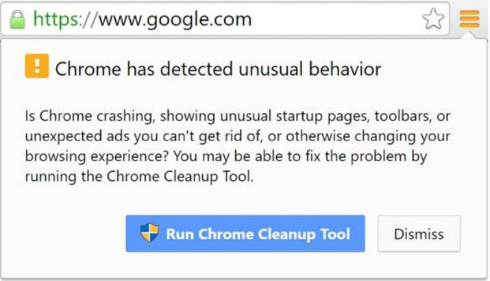 A security message from the Google Chrome Cleanup Tool is shown. (Image Credit: Google Chrome)