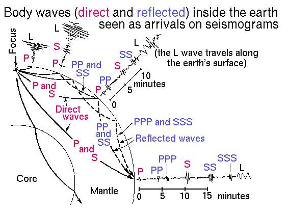 Figure 1: P (compressional) waves and S (shear) waves, and the relative time between them. The L wave indicated above represents the surface wave, which is the slowest of the three, and even though they eventually cause more damage than P and S waves, they are the third wave to reach seismographs and are not considered here. (Source: USGS Earthquake Hazards Program)