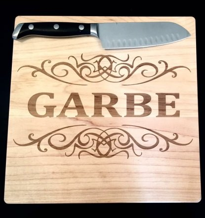 Figure 2. Cutting boards are great items for engraving. Source: Hint's Laser Engraving