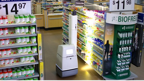 The robots will scan for incorrect prices, missing labels and out-of-stock items. Source: Wal-Mart