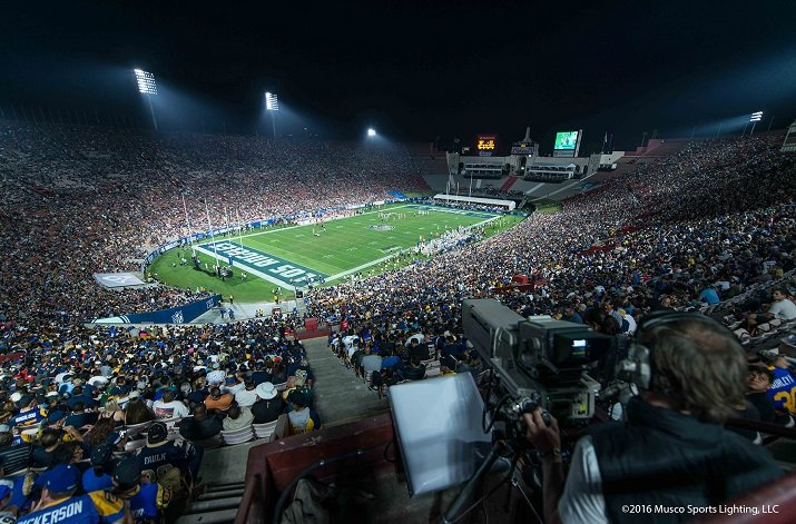 Musco's SportsCluster Green LED system will reduce energy consumption at the Los Angeles Memorial Coliseum and increase vertical light levels by 65. Source: Musco