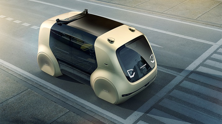Without a cockpit, steering wheel or pedals, Sedric offers comfortable autonomous riding for up to four people. Source: Volkswagen