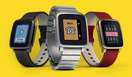 Pebble Time with its color e-paper display. Source: Pebble