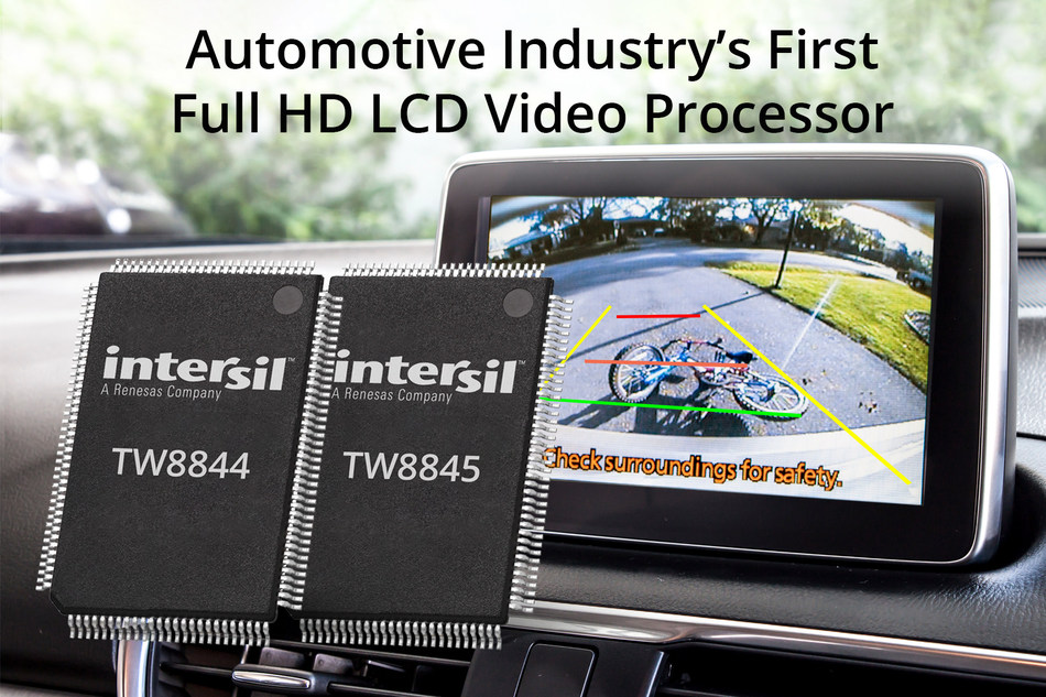 Intersil's highly integrated TW8844 instantly displays rearview camera live video. (Source: Intersil)