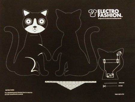 Felt pattern for the 'Electro-Fashion' Cat Kit, billed as an ideal intro to e-textiles. Source: Kitronik.