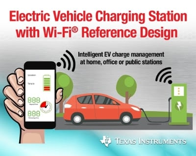 Adding Wi-Fi to charging stations will give electric vehicle owners the ability to monitor the charging of the car and to find nearby stations. Source: TI