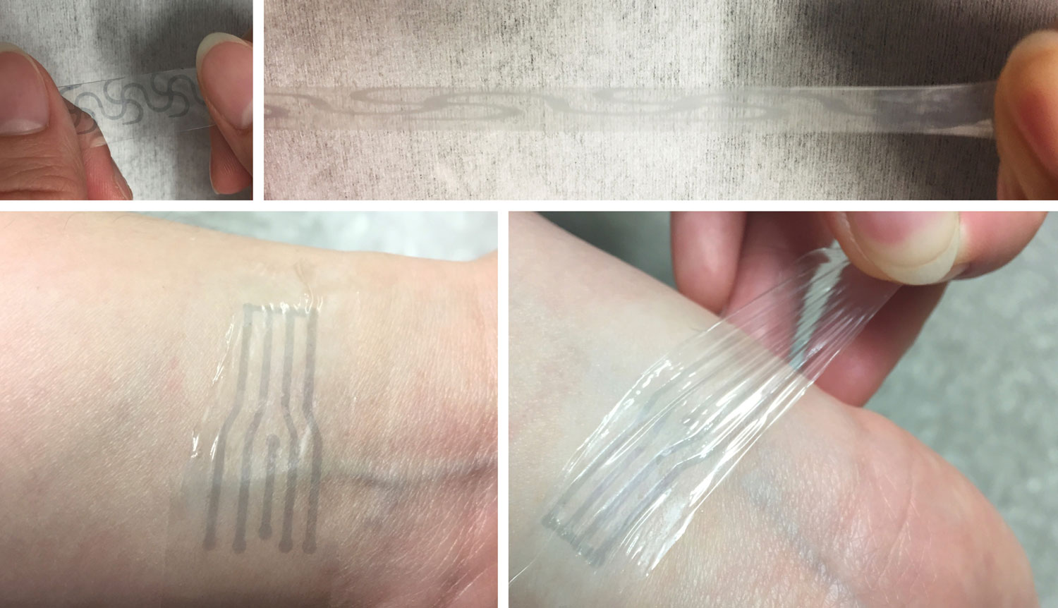 "A printed electrode pattern of the polymer being stretched to several times of its original length (top), and a transparent, highly stretchy ""electronic skin"" patch forming an intimate interface with the human skin to potentially measure various biomarkers (bottom). Image credit: Bao Lab"
