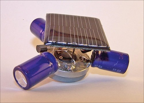 With a solar cell on top, this robots moves when light hits it and also has LEDs to light it up.