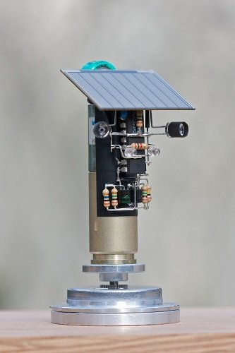 This solar powered robot spins under bright light and rotates continuously during daylight. Source: smfr.org