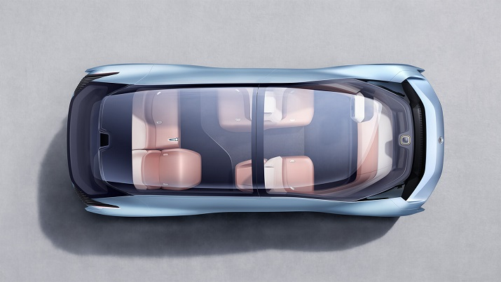 The EVE autonomous electric vehicle is accessible through a wide forward-sliding door where a folding table is housed for work or play and a reclining seat can be used to sleep. Source: Nio