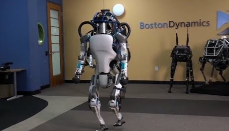 The 2016 version is sleeker and a bit shorter in stature—but amazingly flexible and balanced. Source: Boston Dynamics Video