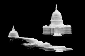 On the bottom, vibrations from the 3D printer caused the print head to offset multiple times. On the top, the new algorithm was applied to the printer, enabling a successful print. Both U.S. Capitol replicas were printed on a HICTOP Prusa i3 3D printer at about twice the speed. Source: Evan Dougherty, Michigan Engineering
